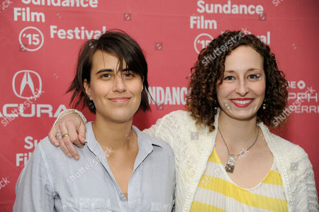 "Kris Swanberg, left, director and co-writer of ""Unexpected,"" poses with co-writer Megan Mercier at the premiere of the film at the Library Center Theatre during the 2015 Sundance Film Festival, in Park City, Utah"