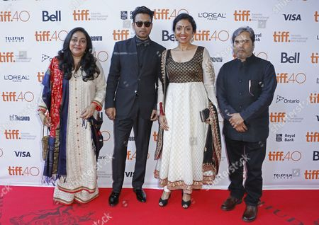 """Stock Picture of Meghna Gulzar, from left, Irrfan Khan, Priti Shahani, and Vishal Bhardwaj attend the premiere for """"Guilty"""" on day 5 of the Toronto International Film Festival at the Ryerson theatre, in Toronto"""