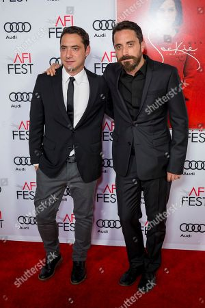 """Producer Juan de Dios Larrain, left, and Director Pablo Larrain arrive at the 2016 AFI Festival """"Jackie"""" Centerpiece Gala at the TCL Chinese Theatre, in Los Angeles"""