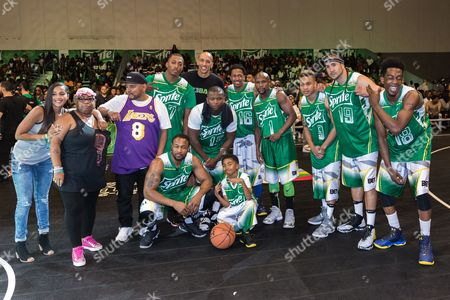 Lecrae, from left, Doug Christie, O.T. Genasis, Miles Brown, Nick Cannon, Floyd Mayweather, Rotimi, Kenny Dobbs, and Desiigner play at the BET Experience - Sprite celebrity basketball game held at the Los Angeles Convention Center on