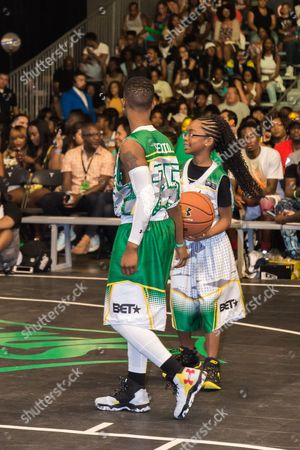 Silento, left, and Marsai Martin play at the BET Experience - Sprite celebrity basketball game held at the Los Angeles Convention Center on