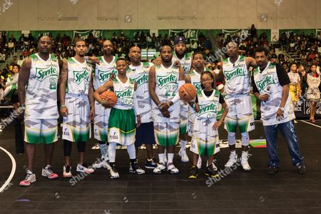 Marcellus Wiley, from left, Guy Dupuy, Snoop Dogg, Silento, Big Boy, Young Greatness, The Game, Lil Durk, Marsai Martin, Flex Alexander, and Deon Cole play at the BET Experience - Sprite celebrity basketball game held at the Los Angeles Convention Center on