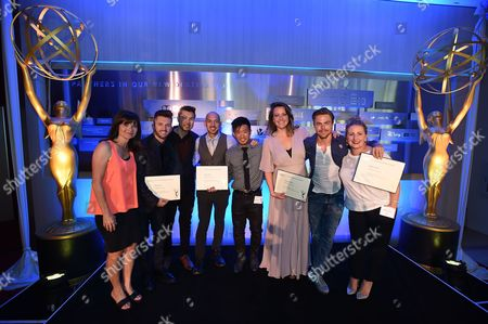 From left, Gail Mancuso, Travis Wall, Brian Hirano, Joseph Lee, Steve Terada, Kathryn Burns, Derek Hough and Mandy Moore attend the 2016 Choreographers Nominee Reception presented by the Television Academy at the Academy's Saban Media Center, in the NoHo Arts District in Los Angeles