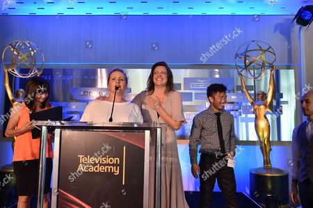 Gail Mancuso, Mandy Moore, Kathryn Burns and Steve Terada attend the 2016 Choreographers Nominee Reception presented by the Television Academy at the Academy's Saban Media Center, in the NoHo Arts District in Los Angeles