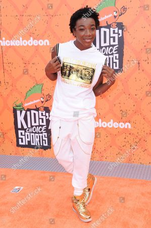 Stock Picture of Jaheem King Toombs arrives at the 2016 Kids' Choice Sports Awards held at UCLA's Pauley Pavilion, in Los Angeles