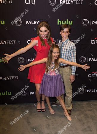 """Meg Donnelly, from left, Julia Butters, and Daniel DiMaggio, cast members in the television series """"American Housewife"""" arrives at the 2016 PaleyFest Fall TV Previews at The Paley Center for Media, in Beverly Hills, Calif"""