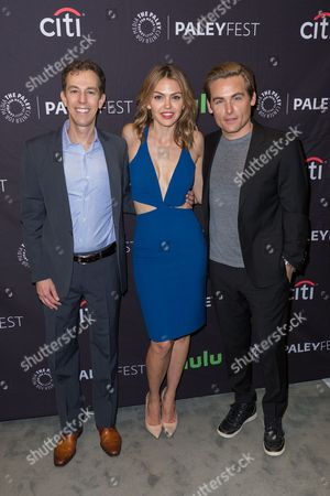 "Executive Producer and Co-Creator Josh Berman, from left, Aimee Teegarden, and Kevin Zegers, cast members in the television series ""Notorious"" arrive at the 2016 PaleyFest Fall TV Previews at The Paley Center for Media, in Beverly Hills, Calif"