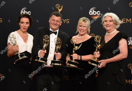 Amanda Abbington, from left, Steven Moffat, Sue Vertue, and Rebecca Eaton winners of the award for outstanding television movie for Sherlock: The Abominable Bride (Masterpiece) pose in the press room at the 68th Primetime Emmy Awards, at the Microsoft Theater in Los Angeles
