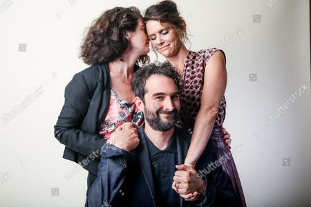 """Stock Picture of Gaby Hoffman, from left, Jay Duplass and Amy Landecker, cast members in the Amazon series """"Transparent,"""" pose for a portrait during the 2016 Television Critics Association Summer Press Tour at the Beverly Hilton, in Beverly Hills, Calif"""