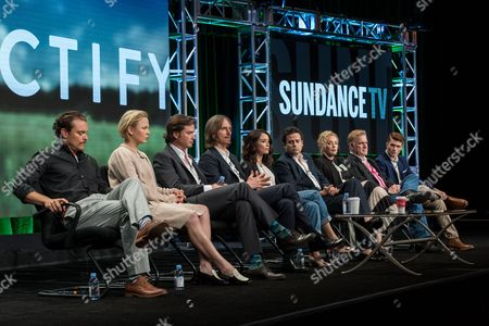 "Stock Photo of Clayne Crawford, from left, Adelaide Clemens, Aden Young, Ray McKinnon, Abigail Spencer, Luke Kirby, J. Smith-Cameron, Bruce McKinnon, and Jake Austin Walker, participate in the ""Rectify"" panel during the AMC Networks Television Critics Association summer press tour, in Beverly Hills, Calif"