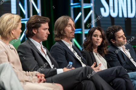 "Adelaide Clemens, from left, Aden Young, Ray McKinnon, Abigail Spencer, and Luke Kirby, participate in the ""Rectify"" panel during the AMC Networks Television Critics Association summer press tour, in Beverly Hills, Calif"
