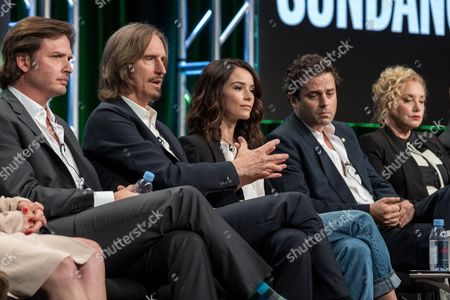 "Aden Young, from left, Ray McKinnon, Abigail Spencer, Luke Kirby, and J. Smith-Cameron participate in the ""Rectify"" panel during the AMC Networks Television Critics Association summer press tour, in Beverly Hills, Calif"