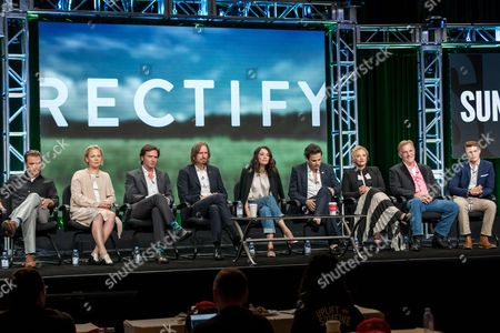 "Clayne Crawford, from left, Adelaide Clemens, Aden Young, Ray McKinnon, Abigail Spencer, Luke Kirby, J. Smith-Cameron, Bruce McKinnon, and Jake Austin Walker, participate in the ""Rectify"" panel during the AMC Networks Television Critics Association summer press tour, in Beverly Hills, Calif"