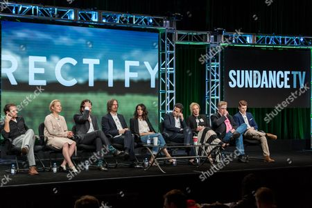 "Stock Image of Clayne Crawford, from left, Adelaide Clemens, Aden Young, Ray McKinnon, Abigail Spencer, Luke Kirby, J. Smith-Cameron, Bruce McKinnon, and Jake Austin Walker, participate in the ""Rectify"" panel during the AMC Networks Television Critics Association summer press tour, in Beverly Hills, Calif"