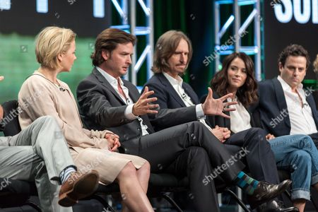 """Adelaide Clemens, from left, Aden Young, Ray McKinnon, Abigail Spencer, and Luke Kirby, participate in the """"Rectify"""" panel during the AMC Networks Television Critics Association summer press tour, in Beverly Hills, Calif"""