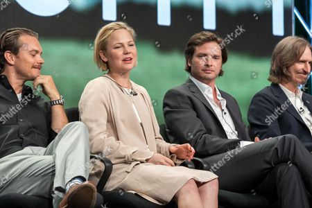 "Clayne Crawford, from left, Adelaide Clemens, Aden Young, and Ray McKinnon, participate in the ""Rectify"" panel during the AMC Networks Television Critics Association summer press tour, in Beverly Hills, Calif"