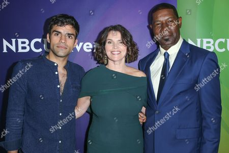 "Sean Teale, from left, Julia Ormond and Dennis Haysbert, cast members in the television series ""Incorporated,"" arrive at the NBCUniversal Television Critics Association summer press tour, in Beverly Hills, Calif"