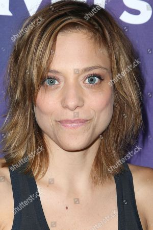 """Stock Picture of Lizzie Brochere, a cast member in the television series """"Falling Water,"""" arrives at the NBCUniversal Television Critics Association summer press tour, in Beverly Hills, Calif"""