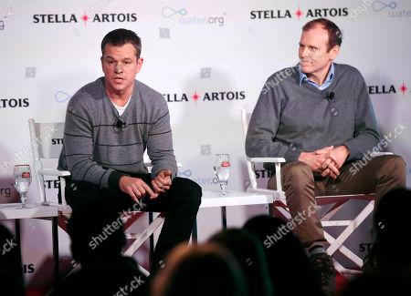 Water.org co-founders Matt Damon, left, and Gary White take part in a panel discussion on the global water crisis at the 2016 Sundance Film Festival, in Park City, Utah
