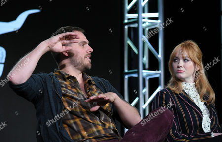 """Executive producer/writer/director Jim Mickle, left, Christina Hendricks participate in a panel for """"Hap and Leonard"""" during the AMC 2016 Winter TCA, in Pasadena, Calif"""