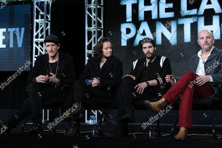 """Johan Renck, from left, Samantha Morton, Tahar Rahim and Peter Carlton appears on stage during the """"The Last Panthers"""" panel at the AMC 2016 Winter TCA, in Pasadena, Calif"""