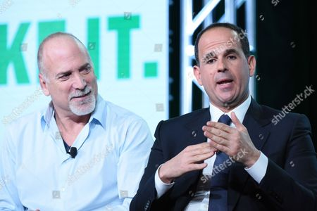 "Jim Ackerman, left, Marcus Lemonis participate in CNBC's ""CNBC Primetime"" panel at the NBCUniversal Winter TCA, Pasadena, Calif"