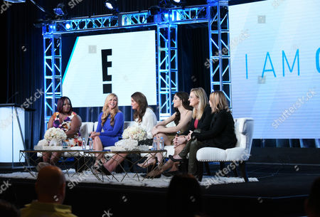 """Chandi Moore, from left, Candis Cayne, executive producer Caitlyn Jenner, Ella Giselle, Jennifer Finney Boylan and executive producer Andrea Metz participate in E!'s """"I Am Cait"""" panel at the NBCUniversal Winter TCA, Pasadena, Calif"""