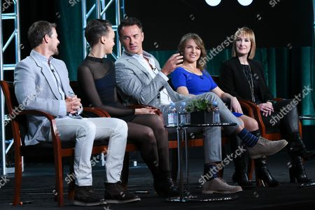 """Stock Picture of Actors Nathan Phillips, from left, Britne Oldford, Julian McMahon, executive producers Natalie Chaidez and Gale Anne Hurd participate in Syfy's """"Hunters"""" panel at the NBCUniversal Winter TCA, Pasadena, Calif"""