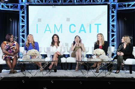 """Chandi Moore, from left, Candis Cayne, Caitlyn Jenner, Ella Giselle, Jennifer Finney Boylan and executive producer Andrea Metz participate in E!'s """"I Am Cait"""" panel at the NBCUniversal Winter TCA, Pasadena, Calif"""
