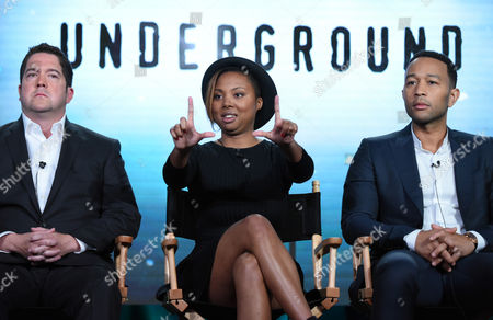 "Creator/executive producer Joe Pokaski, from left, creator/executive producer Misha Green and executive producer John Legend participate in a panel for ""Underground"" during the WGN America 2016 Winter TCA, in Pasadena, Calif"