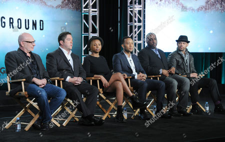 "Executive producer Akiva Goldsman, from left, creator/executive producer Joe Pokaski, creator/executive producer Misha Green, Executive producer John Legend, Executive producer Mike Jackson and director/executive producer Anthony Hemingway participate in a panel for ""Underground"" during the WGN America 2016 Winter TCA, in Pasadena, Calif"