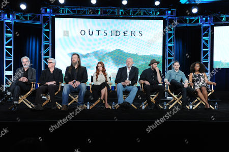"Creator and executive producer Peter Mattei, from left, executive producer Peter Tolan, Ryan Hurst, Gillian Alexy, David Morse, Thomas M. Wright, Kyle Gallner and Christina Jackson participate in the panel for ""Outsiders"" at the WGN America 2016 Winter TCA, in Pasadena, Calif"