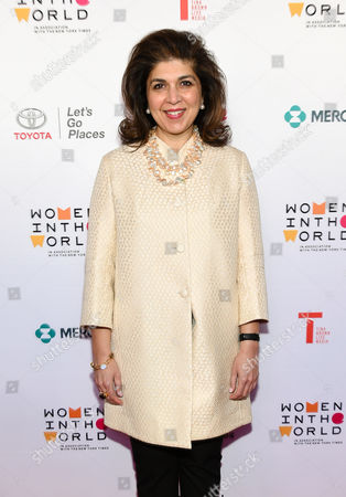 Stock Photo of Special Representative to Muslim Communities for the United States Department of State, Farah Pandith, arrives at the 7th Annual Women in the World Summit opening night at the David H. Koch Theater, in New York