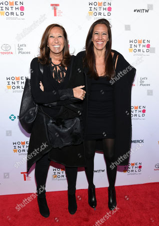 Fashion designer Donna Karan, left, and her daughter Gabby Weiss arrive at the 7th Annual Women in the World Summit opening night at the David H. Koch Theater, in New York