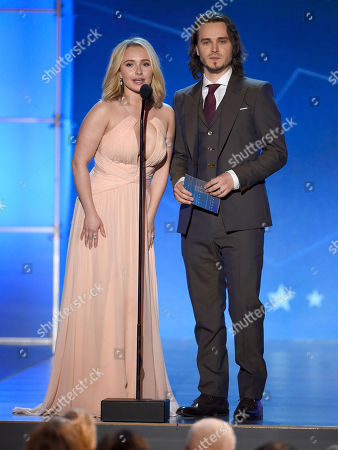 Hayden Panettiere, left, and Jonathan Jackson present the award for best acting ensemble at the 21st annual Critics' Choice Awards at the Barker Hangar, in Santa Monica, Calif