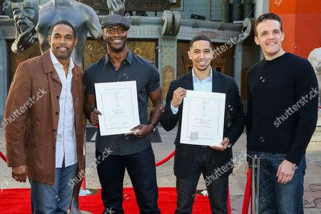 From left, Jason George, Aldis Hodge, Neil Brown Jr. and Woody Schultz attend the 22nd Annual Screen Actors Guild Awards Actor Statue Photo Call at the TCL Chinese Theatre, in Los Angeles