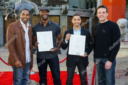 Jason George, from left, Aldis Hodge, Neil Brown Jr. and Woody Schultz attend the 22nd Annual Screen Actors Guild Awards Actor Statue Photo Call at the TCL Chinese Theatre, in Los Angeles