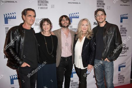 """Robin Thomas, from left, Talia Shire, Robert Schwartzman, Beverly D'Angelo, and Johnny Simmons attend the 31st Annual FLIFF - Opening Night Premiere of """"Dreamland"""" at Seminole Hard Rock Live, in Hollywood, Fla"""