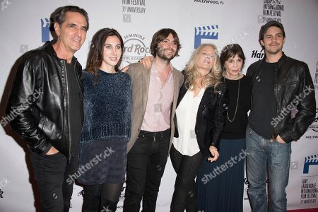 """Robin Thomas, from left, Zoey Grossman, Robert Schwartzman, Beverly D'Angelo, Talia Shire and Johnny Simmons attend the 31st Annual FLIFF - Opening Night Premiere of """"Dreamland"""" at Seminole Hard Rock Live, in Hollywood, Fla"""