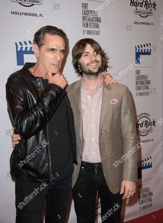 """Robin Thomas, left, and Robert Schwartzman attend the 31st Annual FLIFF - Opening Night Premiere of """"Dreamland"""" at Seminole Hard Rock Live, in Hollywood, Fla"""