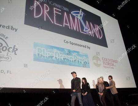 """Johnny Simmons, from left, Talia Shire, Beverly D'Angelo, Robin Thomas and Robert Schwartzman attend the 31st Annual FLIFF - Opening Night Premiere of """"Dreamland"""" at Seminole Hard Rock Live, in Hollywood, Fla"""