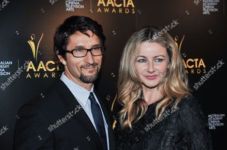 Jonathan LaPaglia, left, and Ursula Brooks arrive at the 3rd Annual AACTA International Awards, on Friday, January,10, 2014 in West Hollywood, Calif