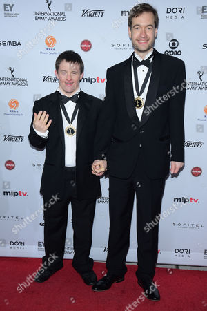 Will Jessop, left, and Tommy Jessop attend the 43rd International Emmy Awards at the New York Hilton Hotel, in New York