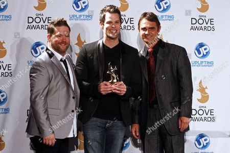 Aaron Brabb, center, Tim Duncan, right, and Michael Sykes of Canton Junction attends the press room at the 44th Annual GMA Dove Awards at the Lipscomb Universityâ?™s Allen Arena on in Nashville, Tenn