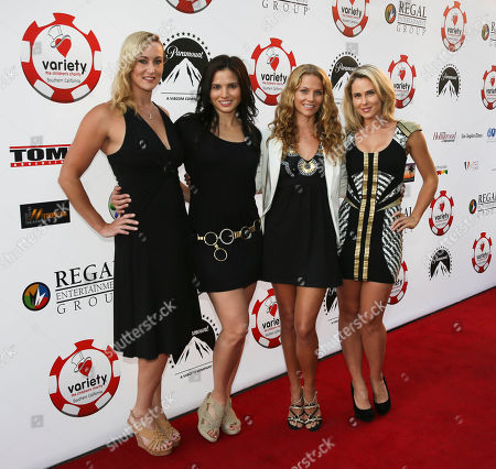 Stock Photo of From left, actresses Vanessa Cater, Katrina Law, Ellen Hollman and Anna Hutchison arrive during the 4rd Annual Variety - The Children's Charity of Southern California Texas Hold 'Em Poker Tournament held at Paramount Studios, in Hollywood, California