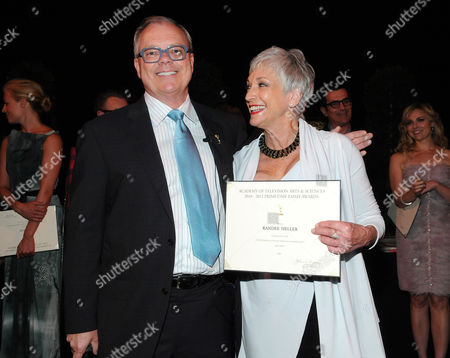SEPTEMBER 16: (L-R) Chairman and CEO of the Academy of Television Arts & Sciences John Shaffner and Randee Heller attend the 63rd Primetime Emmy Awards Performers Nominee Reception at Spectra by Wolfgang Puck at the Pacific Design Center on in Los Angeles, California