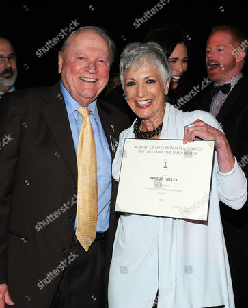 SEPTEMBER 16: (L-R) Academy Governor Conrad Bachmann and Emmy nominee Randee Heller attends the 63rd Primetime Emmy Awards Performers Nominee Reception at Spectra by Wolfgang Puck at the Pacific Design Center on in Los Angeles, California