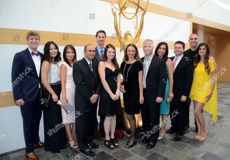 Tim Kolenot, and from left, Britney Kagawa, Karolin Safarian, Josh Kirkwood, Rylan Rafferty, Beth Townsend, Rob Townsend, Tamar Sadd, Louie Sadd, Ava Hoonanian, Ani Hoonanian attend the 67th Los Angeles Area Emmy Awards at the Skirball Cultural Center on