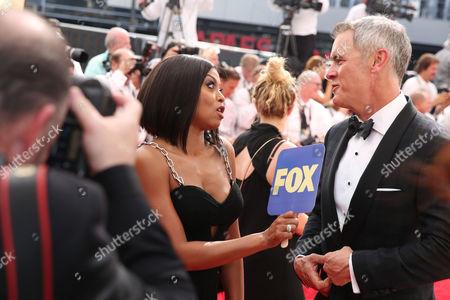 Taraji P. Henson and Mark Moses arrive at the 67th Primetime Emmy Awards, at the Microsoft Theater in Los Angeles