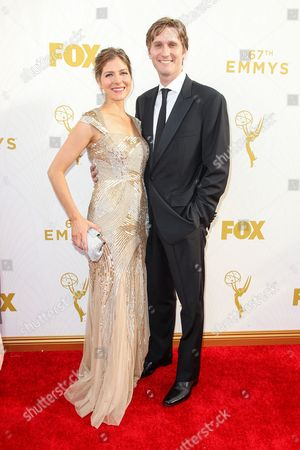Connie Fletcher, left, and Aaron Staton arrive at the 67th Primetime Emmy Awards, at the Microsoft Theater in Los Angeles